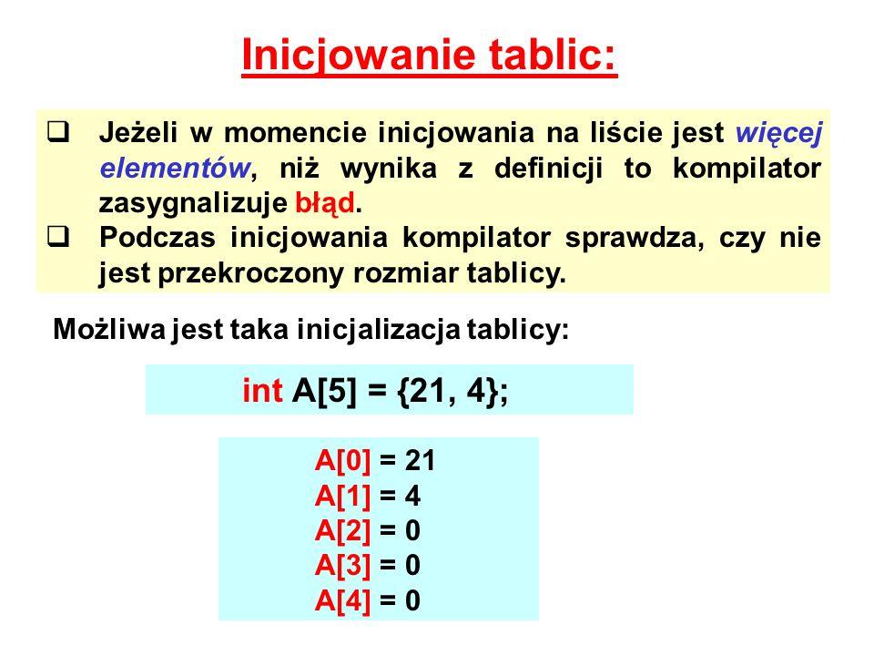 Inicjowanie tablic: int A[5] = {21, 4};